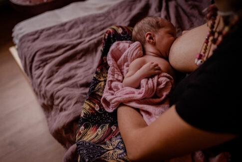 Neugeborenes trinkt a Brust der Mutter Wochenbettfotografie von Lisa von Rekowski Geburtsräume Wiebke Niemann Doula Kragen